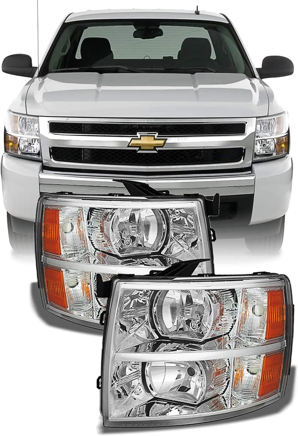 Headlight Assembly for 2007 2008 2009 2010 2011 2012 2013 2014 Chevy Silverado Replacement Headlamp Driving Light Chromed Housing Amber Reflector Clear Lens,2 Year Warranty Pair AUTOSAVER88 Chevy Silverado 2007-2014