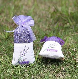 TooGet Lavender Sachet Bags, Organic Ultra Blue Lavender Buds for Home Fragrance, Natural Deodorizer, Moth Repellent and Fresh Lavender Scent Deodorant Sachets - Pack of 6