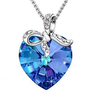Amazon sivery gift of love pendant necklace with blue sivery quotgift of lovequot pendant necklace with blue swarovski crystal aloadofball Image collections