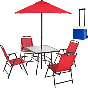 Mainstay- Patio Furniture Dining Set Albany Lane 6-Piece Folding Seating Set and Roller Ice Chest Cooler with Wheels Bundle, Red