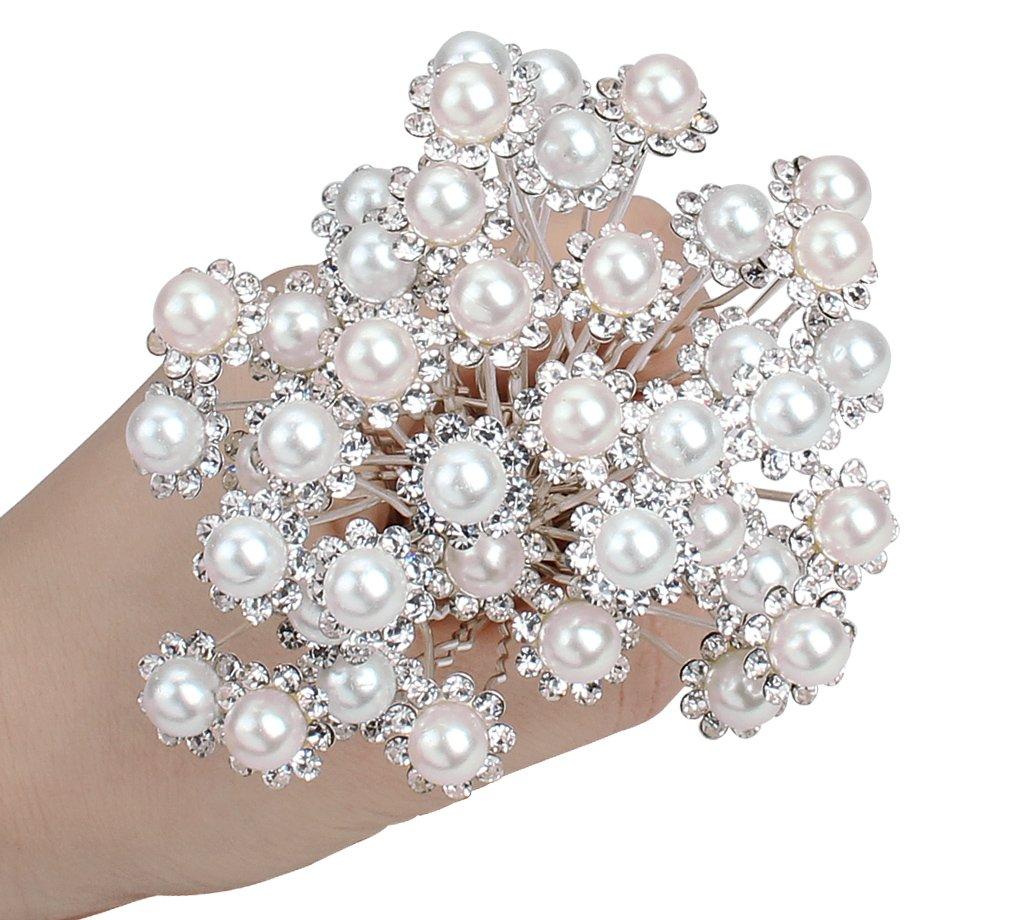 Anbala Pack Of 40 White Pearl Bride Crystal Rhinestone Flower Hair