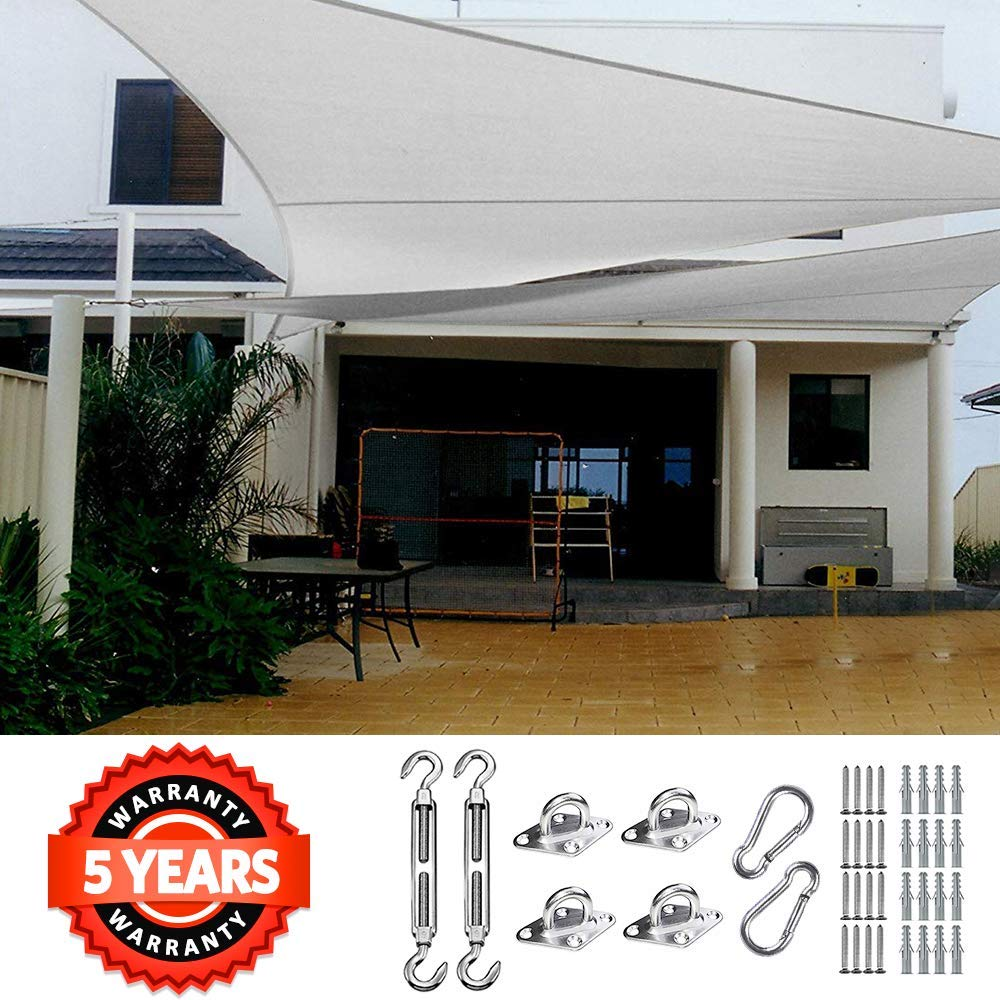 Quictent 185HDPE Rectangle Sun Shade Sail Outdoor Patio Lawn Garden Canopy Top Cover 98% UV-Blocked (26 x 20 ft, Ivory)