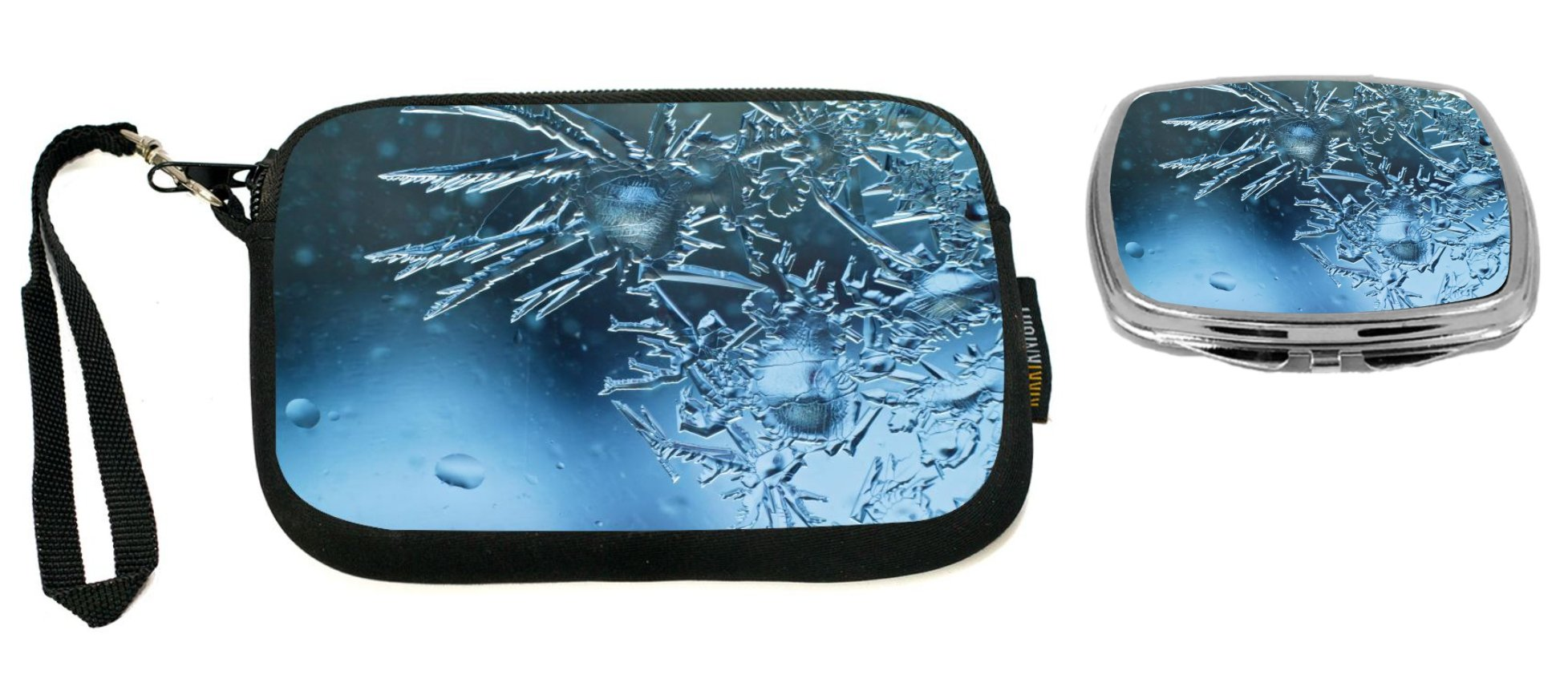 Rikki Knight Ice Crystals on Glass Window Design Neoprene Clutch Wristlet with Matching Square Compact Mirror