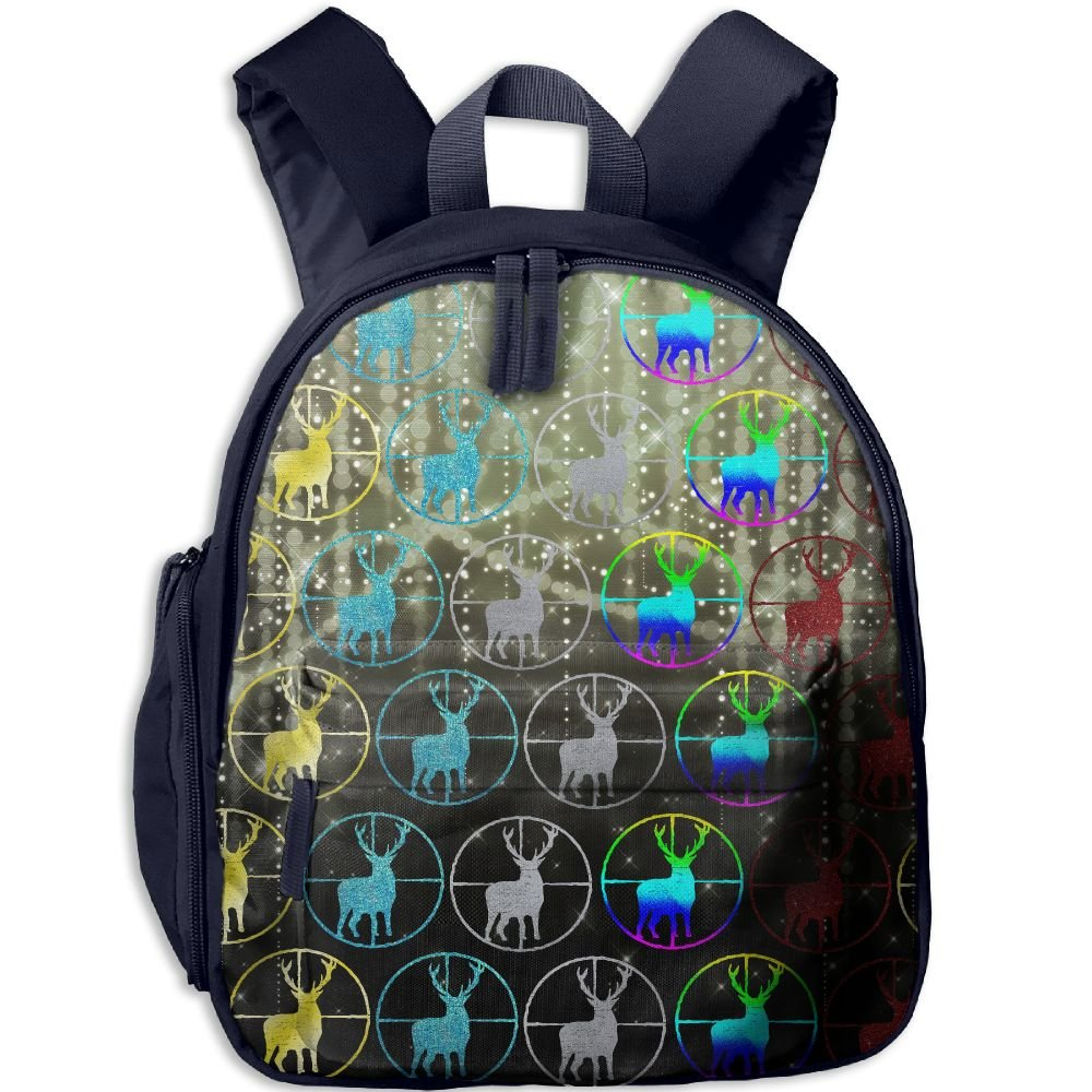 Colorful Deer Hunting School Backpacks For Boys Girls Cute Bookbag Outdoor Daypack Colorkey