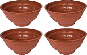 Set of 4 Round Terracotta Planters! Perfect for Both Indoor and Outdoor Plants! (4, Terra Cotta)