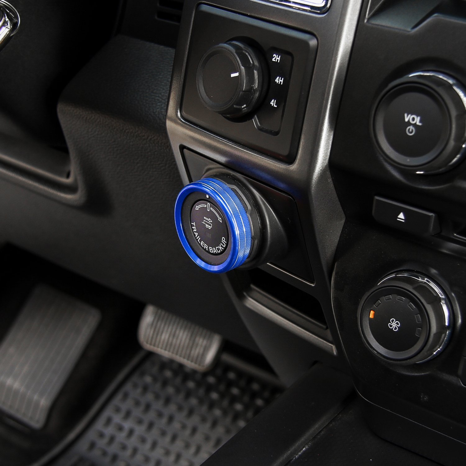 Black Voodonala Aluminum Alloy Car Inner 4WD Switch Trim Button Knob Ring Cover Ford F150 XLT 2016 2017
