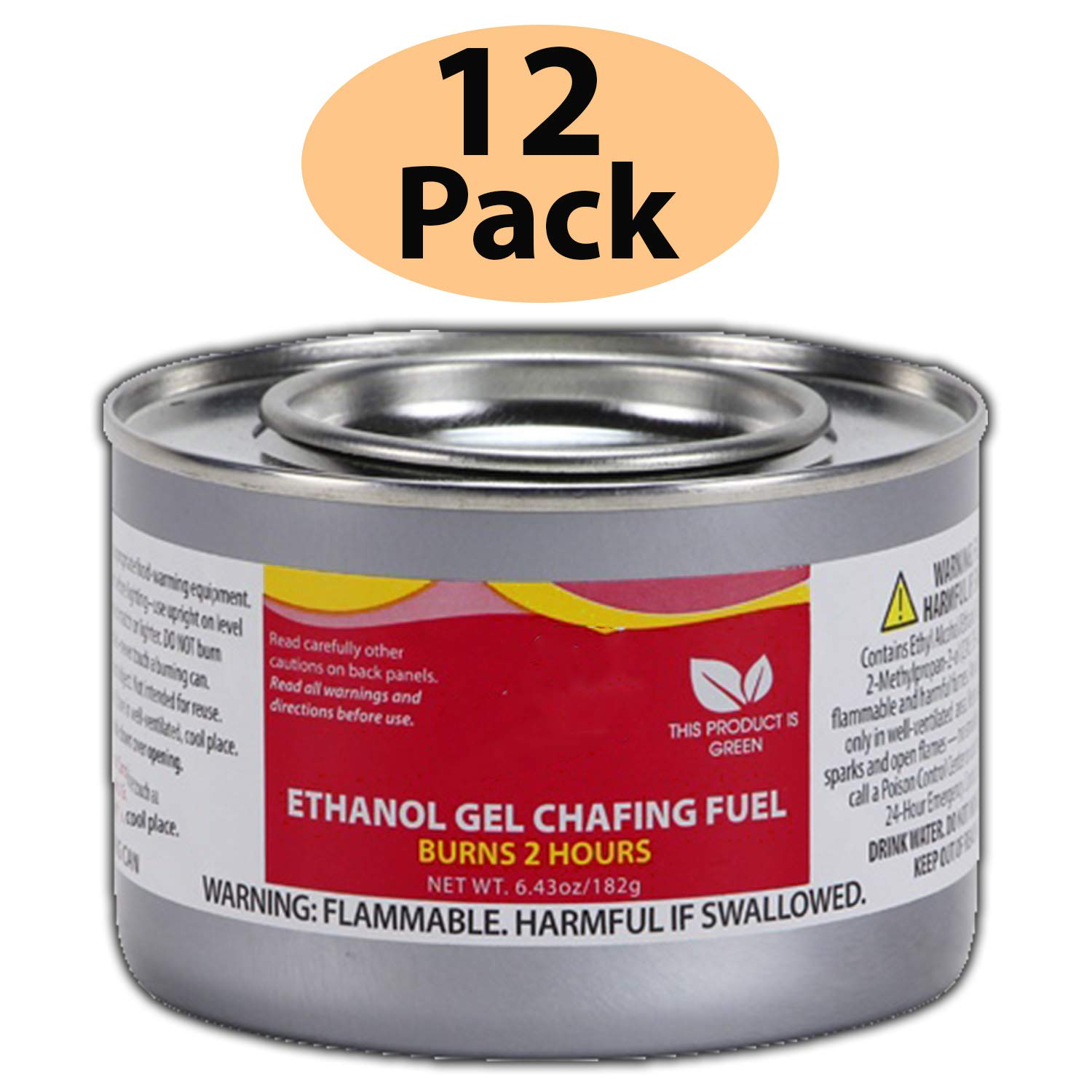 Chafing Dish Fuel Cans - Includes 12 Ethanol Gel Chafing Fuels, Burns for 2 Hours (6.43 OZ) for your Cooking, Food Warming, Buffet and Parties. by HeroFiber (Image #2)