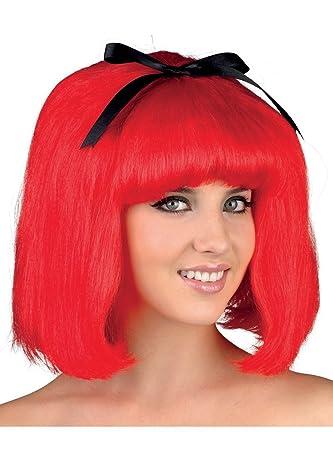 Peluca roja corta con flequillo para mujer