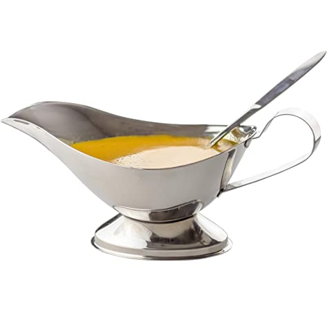 Sauce Boats Set of 2 Stainless Steel Gravy Boats 16 OZ Dressing Pouring Boats