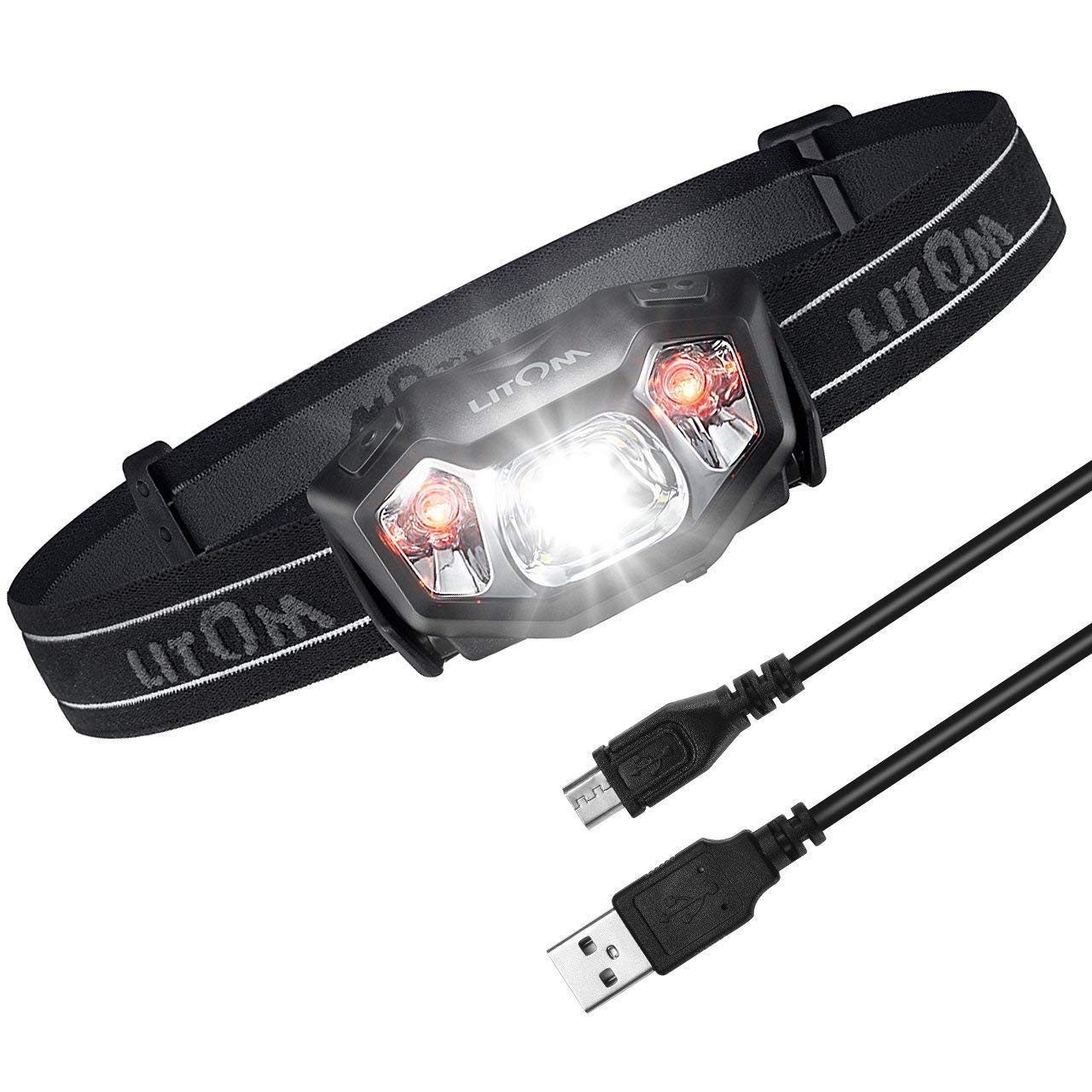 LED Headlamp, Litom Super Bright Rechargeable LED Headlamps IPX6 Waterproof Lights with 6 Lighting Modes for Camping, Hiking, Reading with USB Cable Habor .