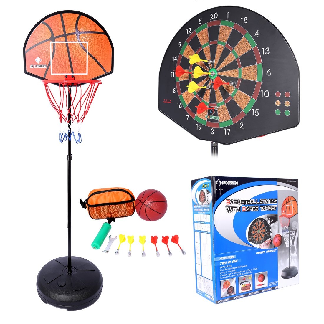 Lommer - Aro de baloncesto, 153 – 172 cm, ajustable, 2 en 1, soporte de baloncesto y aro, con tablero de dardos de pie para interiores y exteriores, juego de juguetes para niños y adolescentes, con tablero y dardos 153 - 172 cm