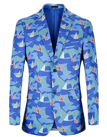 Suit Me Moda para Hombre con Estilo Funky Printed Blazer Dos Botones Chaquetas Ajustadas Navidad Festival de Halloween Fiesta: Amazon.es: Ropa y accesorios