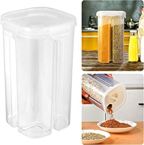 Airtight Grain Storage Container- 4 Grid Cereal Dispenser with Adjustable Dividers Dry Food Storage Box Rotatable Lid Kitchen Canisters Set for Oatmeal Rice Coffee Beans Corn Flakes Spaghetti