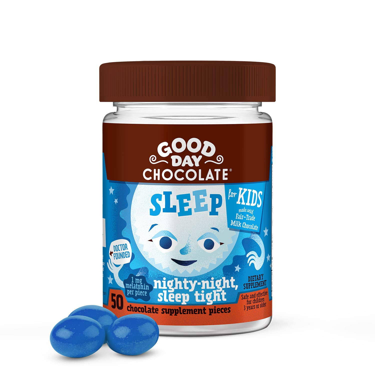 Good Day Chocolate Melatonin for Kids Natural Kids Sleep Aid Supplement (50 Count)