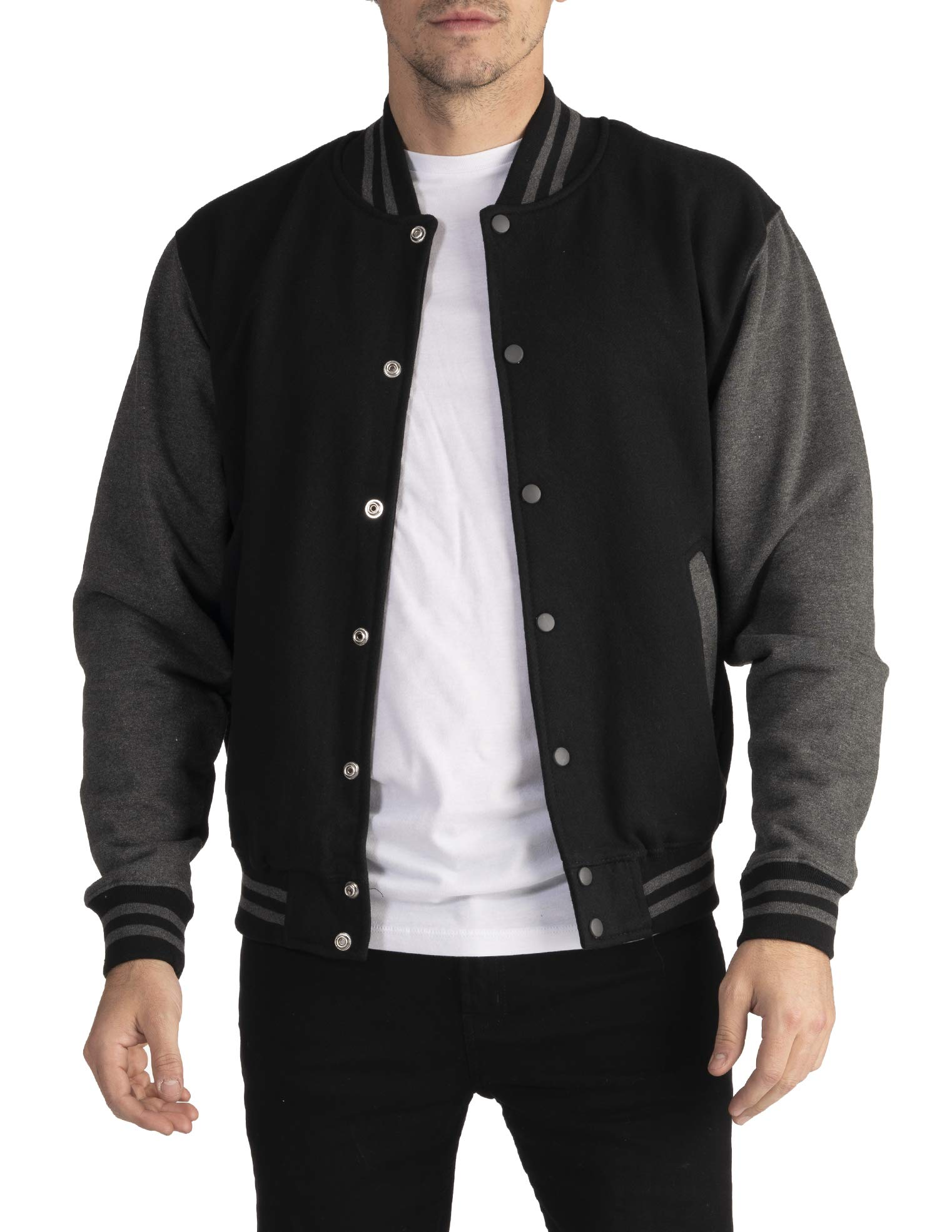 Pro Club Men's Varsity Fleece Baseball Jacket, Black/Charcoal, Large by Pro Club