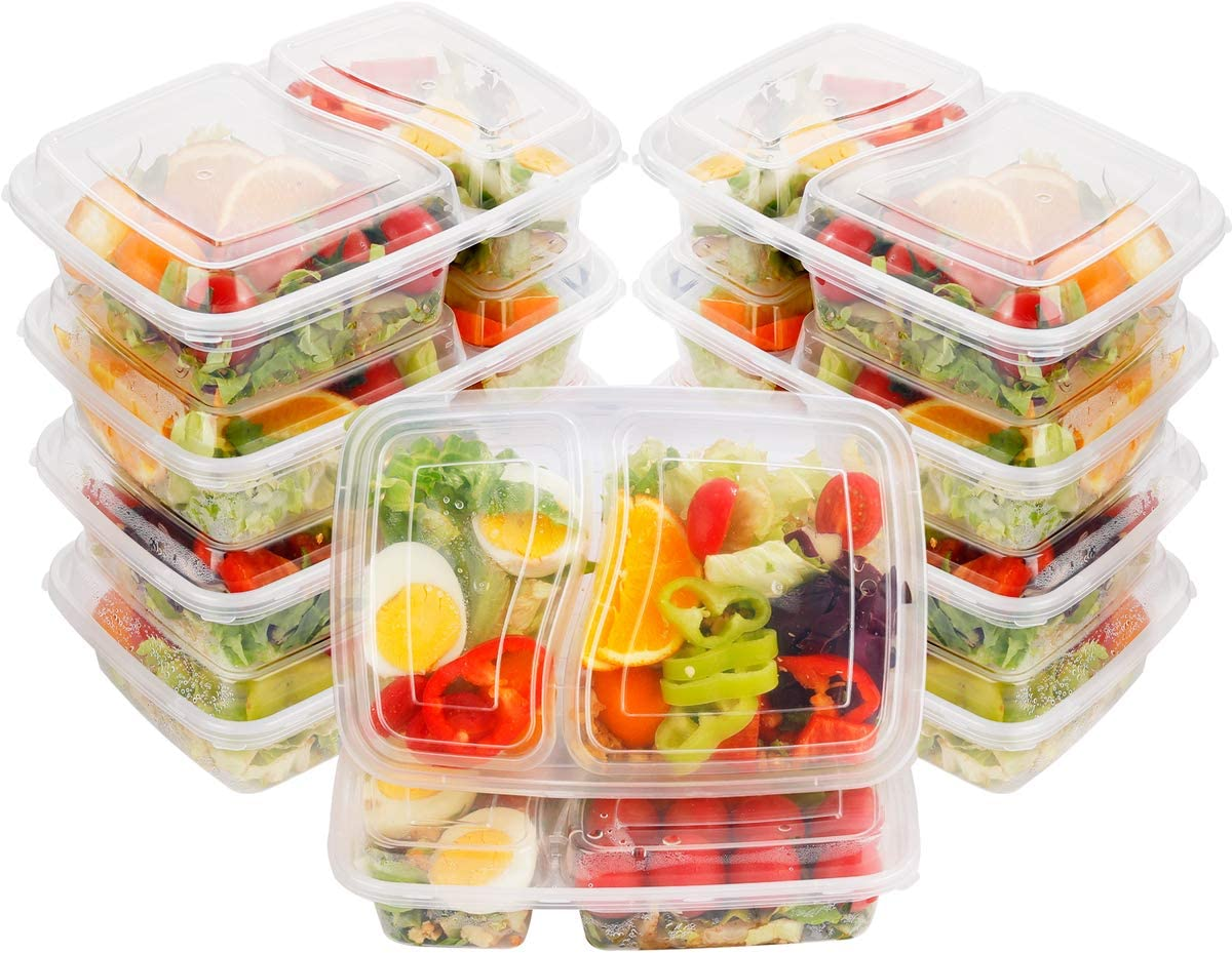 DaYammi 60pack Meal Prep Containers with Lids, Clear Rectangular Lunch Box, 2 Compartment Food Storage Containers, Microwaveable, Freezer & Dishwasher Safe(28 oz)