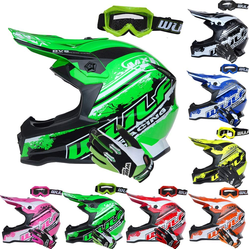 Wulfsport Pink Cub Off Road Pro Kids Motocross Helmet XL Cub Goggles Stratos Gloves XS