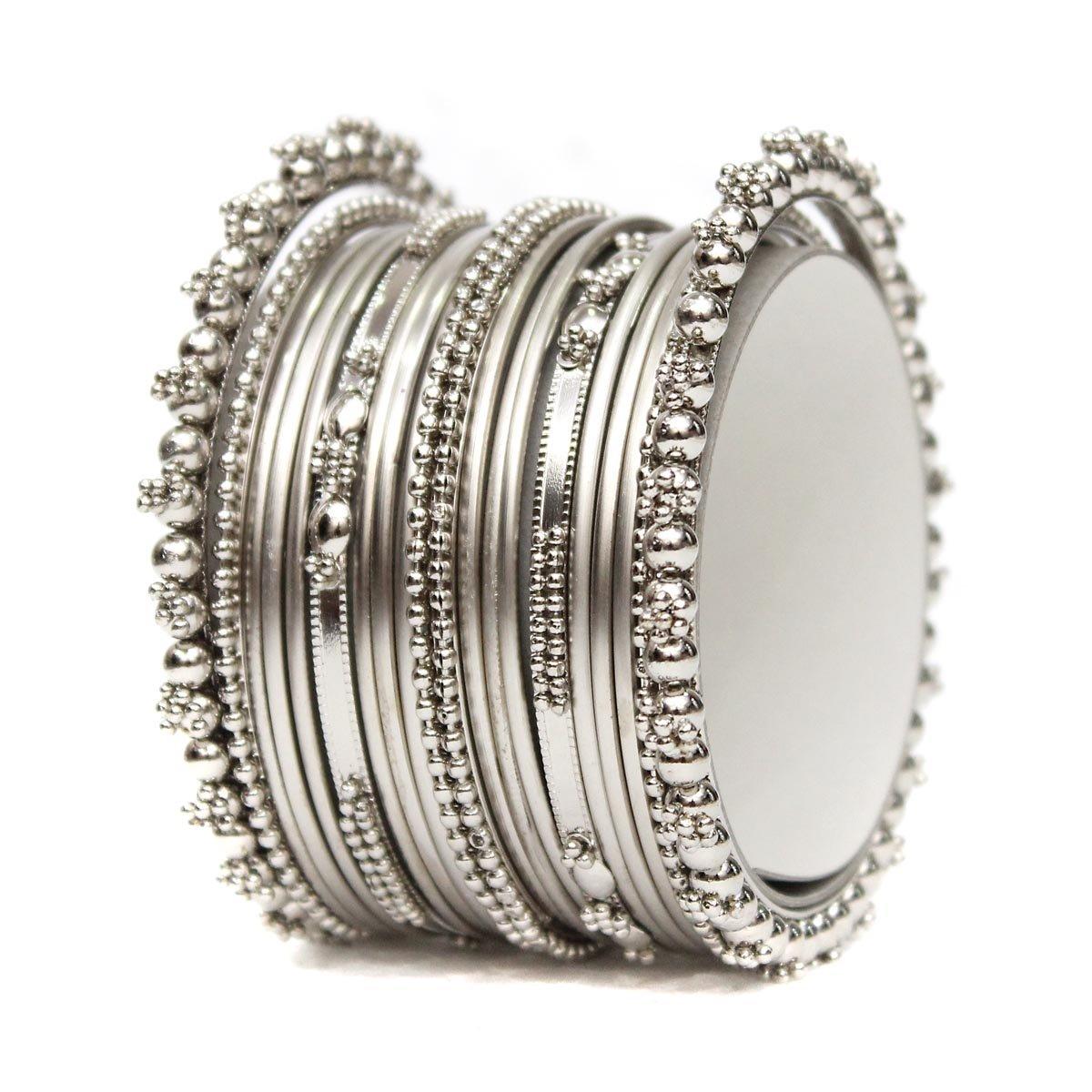 Joyeria Zircon Fashion Latest Bollywood Designer Silver Tone Bangles Set Bracelet Indian Partywear Jewelry (2.8)