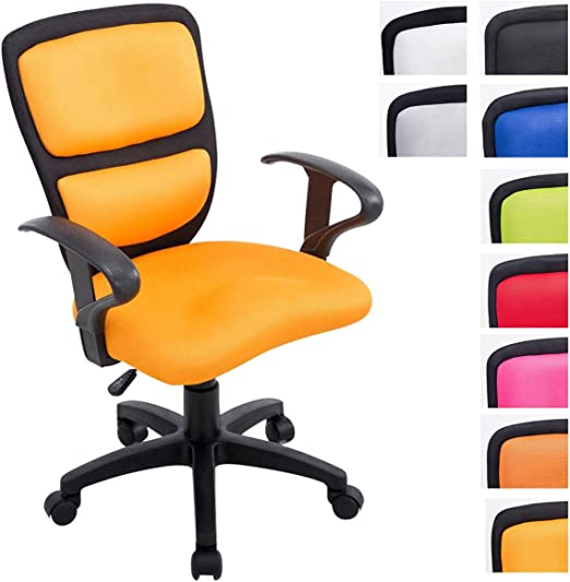 CLP Kinder Bürostuhl Einstein I Höhenverstellbarer Schreibtischstuhl Mit Armlehnen I Drehstuhl Mit Stoffbezug Und Laufrollen, Farbe:schwarzgelb