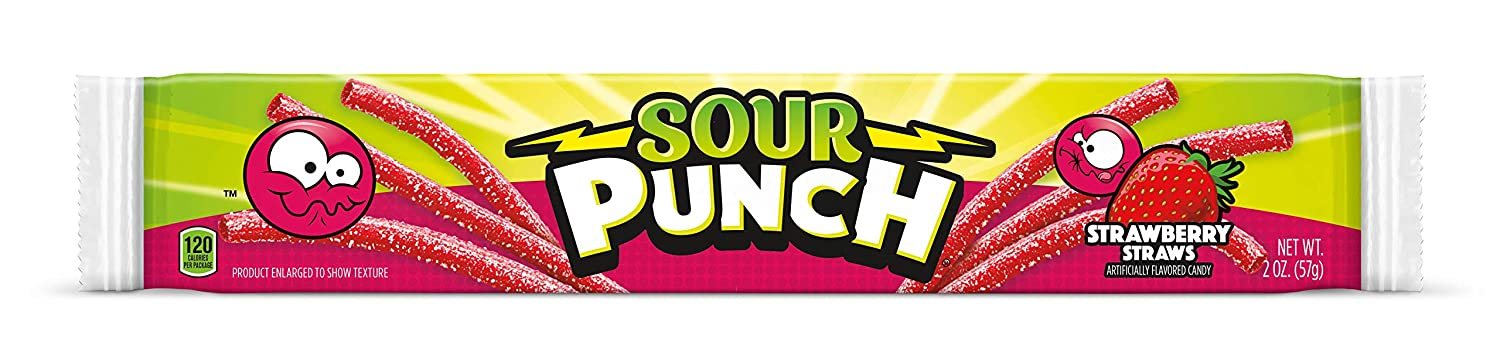 Sour Punch Straws, Sweet & Sour Strawberry Fruit Flavor, Chewy Candy, 2oz Tray (24 Pack)