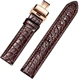 EHHE ZPF Alligator Leather Watch Bands with Rose Gold Deployment Buckle for Men and Women 18mm-24mm