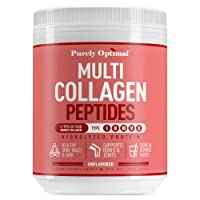 Premium Multi Collagen Powder - 5 Types of Hydrolyzed Collagen Peptides w/ Biotin, Hair Skin and Nails Vitamins, Max Absorption, Bone & Joint Support - Types I,II,III,V,X - Easy Mix Unflavored (16 oz)