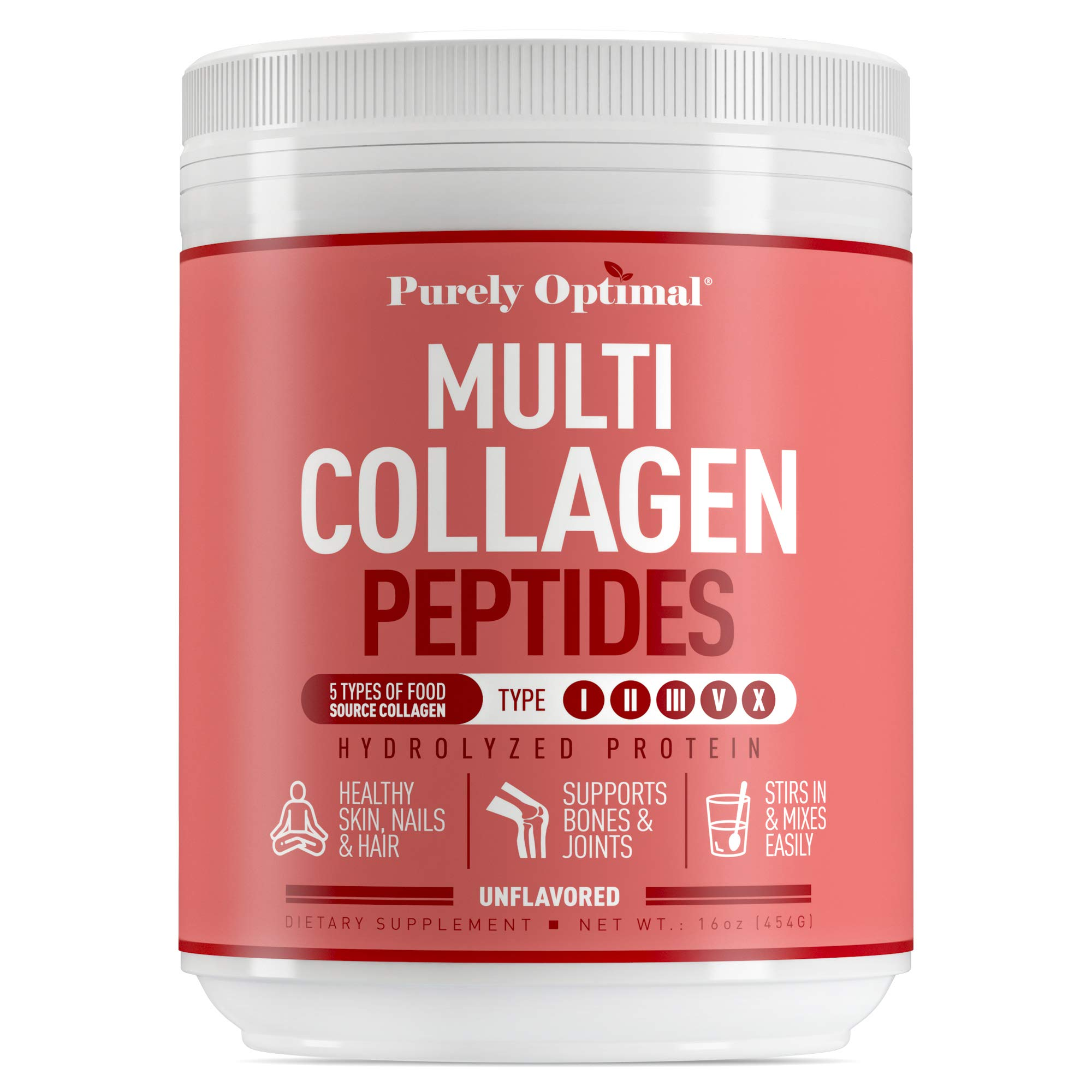 Premium Multi Collagen Powder - 5 Types of Hydrolyzed Collagen Peptides with Biotin, Hair Skin and Nails Vitamins, Bone & Joint Support - Keto-Friendly, Max Absorption, Easy Mix, Unflavored (16 oz)