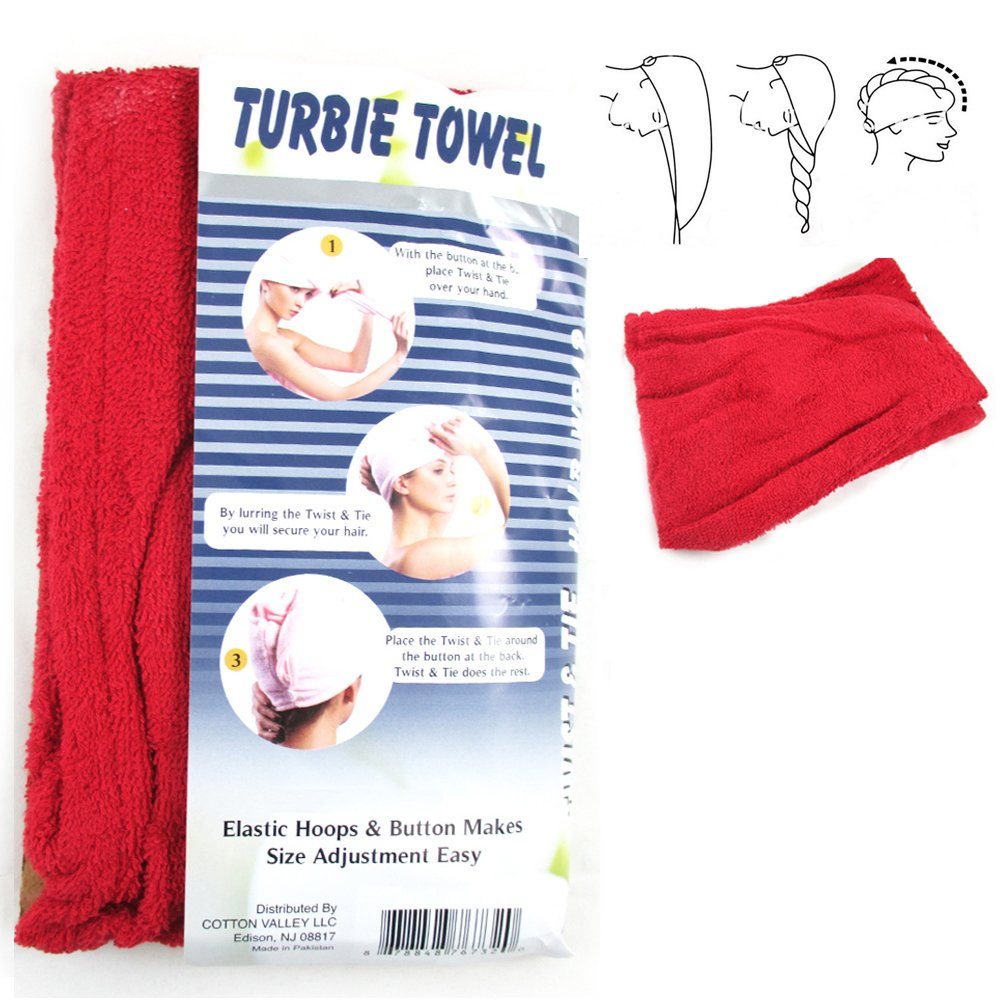 Amazon Com 2 Pc Polyester Terry Large Hair Head Wrap Turbie Towel