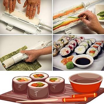 Sushi roll – Juego de utensilios para hacer Sushi rollos caseros Hecho Fácil por rodillo y