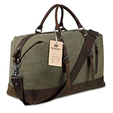 Amazon.com | Canvas Overnight Bag Travel Duffel Genuine Leather ...