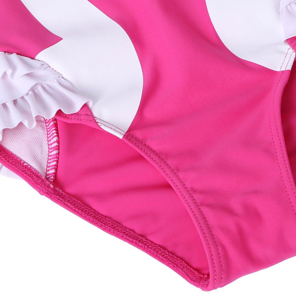 BAOHULU Girls One Piece Bathing Swimsuit Lovely Stripe Swimwear 3-12 Years