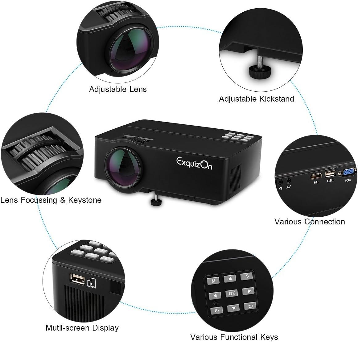 Exquizon E08 - LED Proyector Home Cinema Multimedia (800x480P ...