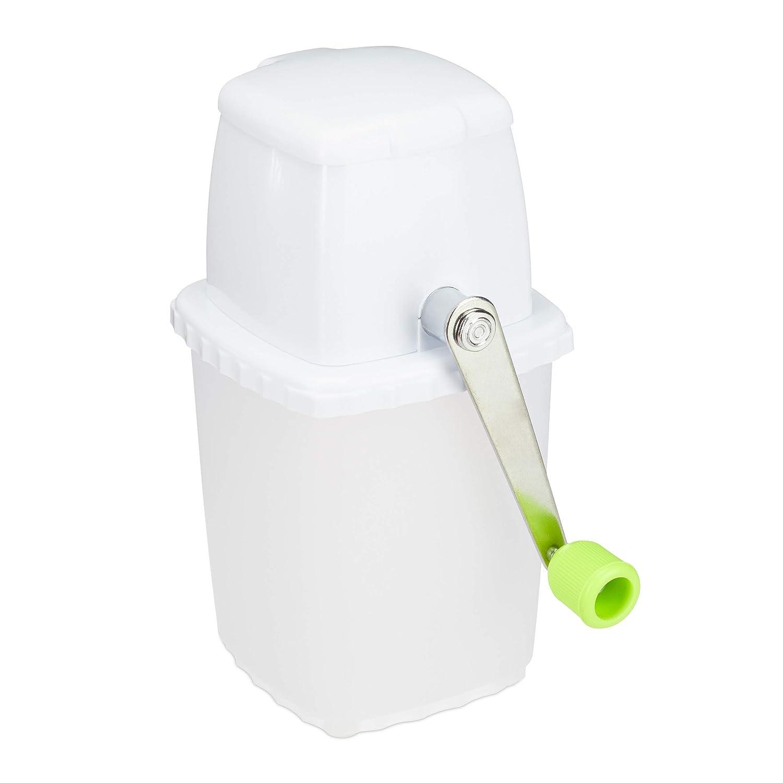 Relaxdays Eiscrusher manuell, Eiszerkleinerer, mit Handkurbel, Barzubehör, ohne Strom, rostfrei, Ice Crusher, weiß-grün