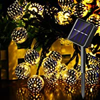 Deals on MINGER Morocco Globe Solar String Light Waterproof 15 ft 20 LED