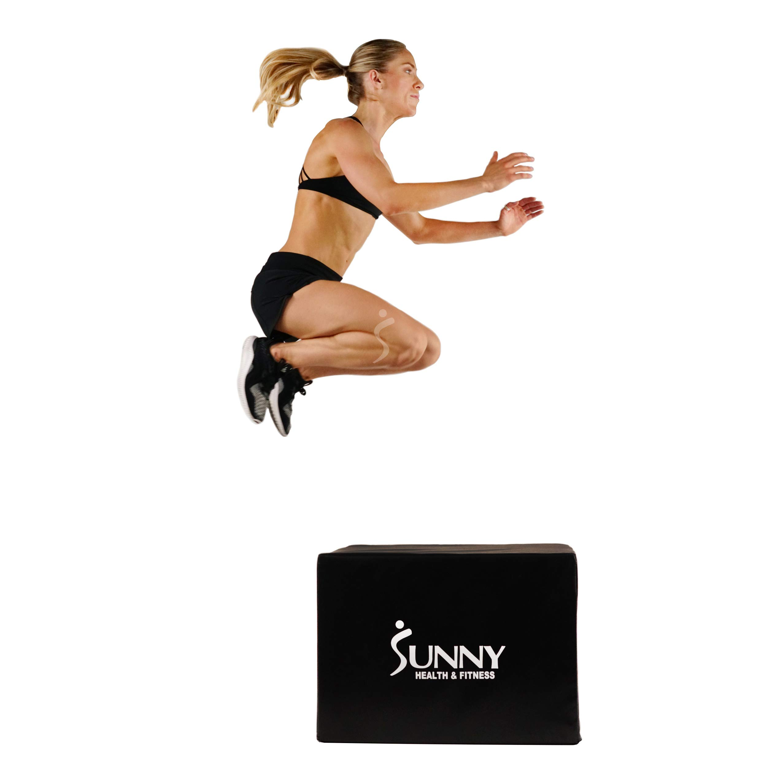 Sunny Health & Fitness Plyo Box Jump Platform with Adjustable Heights 20''/24''/28'' and Shock Absorbing Foam Cover, 3-in-1 Plyometric Jump Box -    No. 072 by Sunny Health & Fitness
