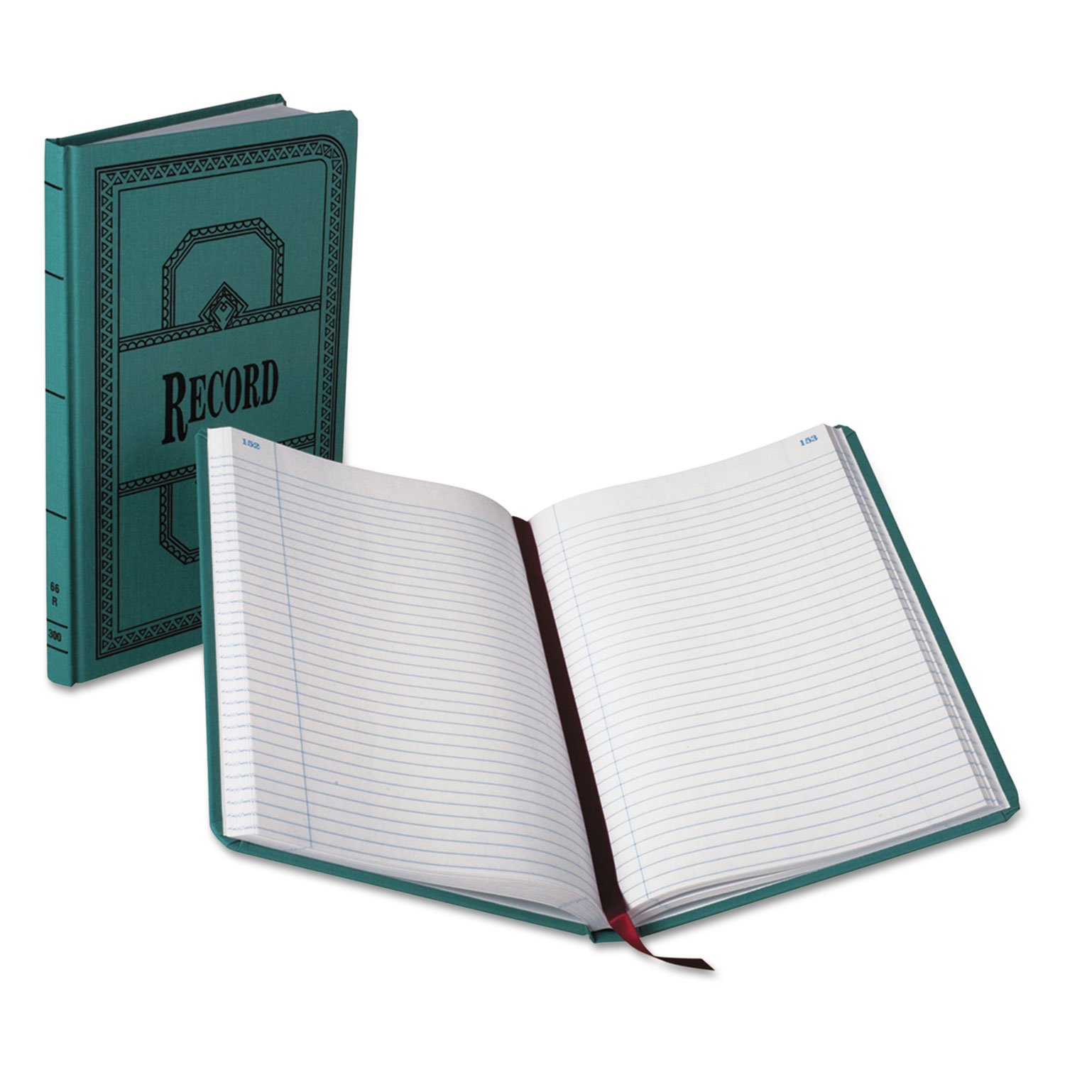 Boorum & Pease 66300R Account Book, Record-Ruled, 300 Pages, 12-1/8''x7-5/8'', Blue