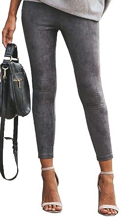249c1daa91b69d ECOWISH Damen Faux Suede Stretch Enge Hosen Elastische Taille Leggings Slim  Fit Knöchel Reißverschlüsse Basic Bleistift
