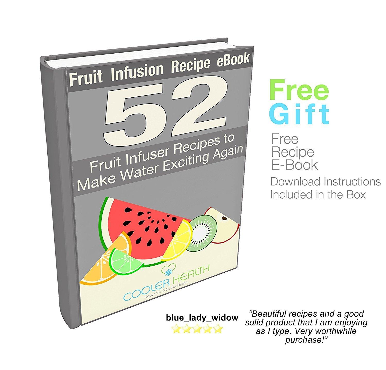 Mejor Infusor de Frutas - Botella de agua gratis eBook de recetas de infusión anti sudor Sleeve - 32oz - Full Starter Kit - Plástico sin BPA - Aislado ...