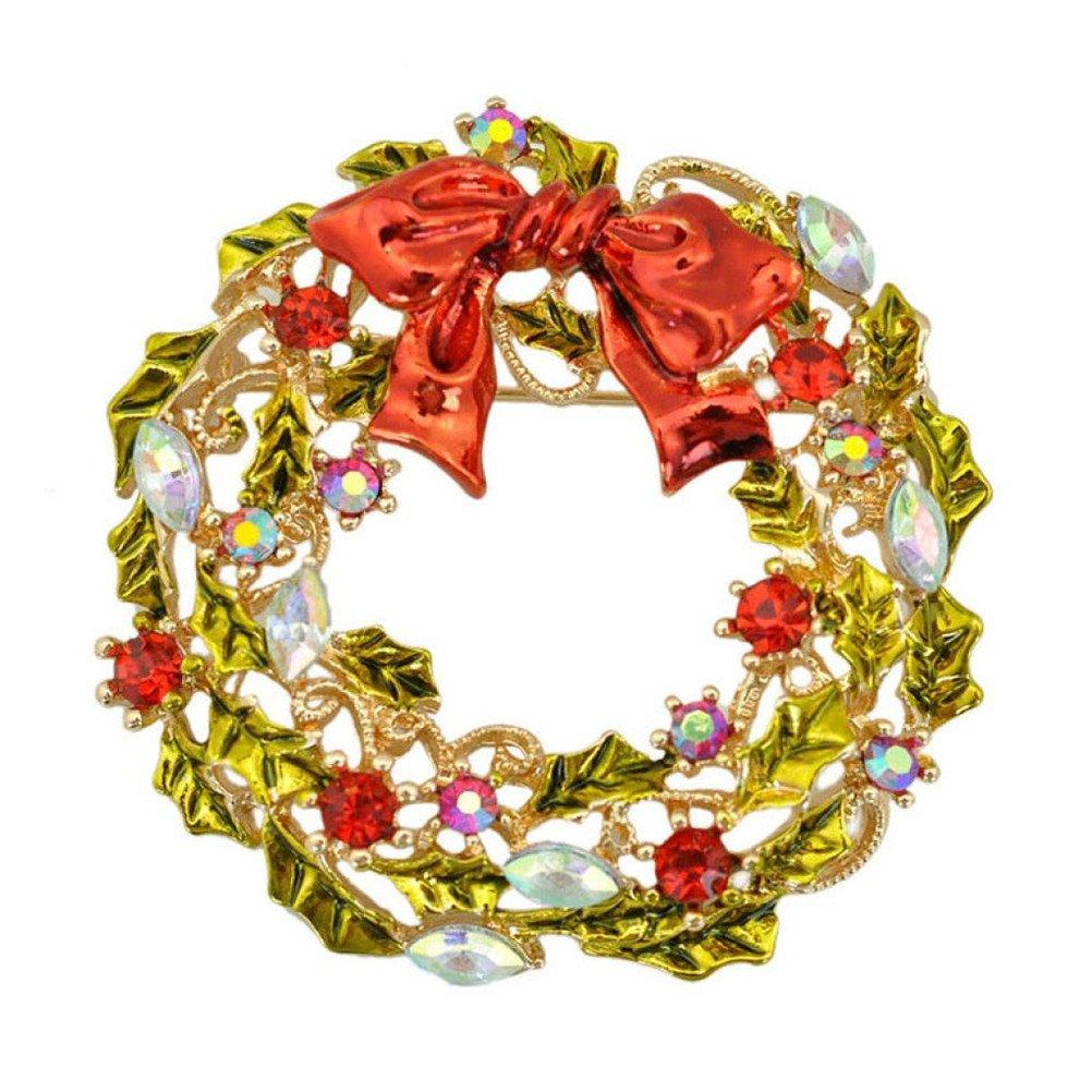 8c5f35bf762 Amazon.com: Elaco Christmas Brooch Pin Vintage Flower Glarland Shape  Christmas Wreath Holiday Brooch Xmas Gift (A): Jewelry