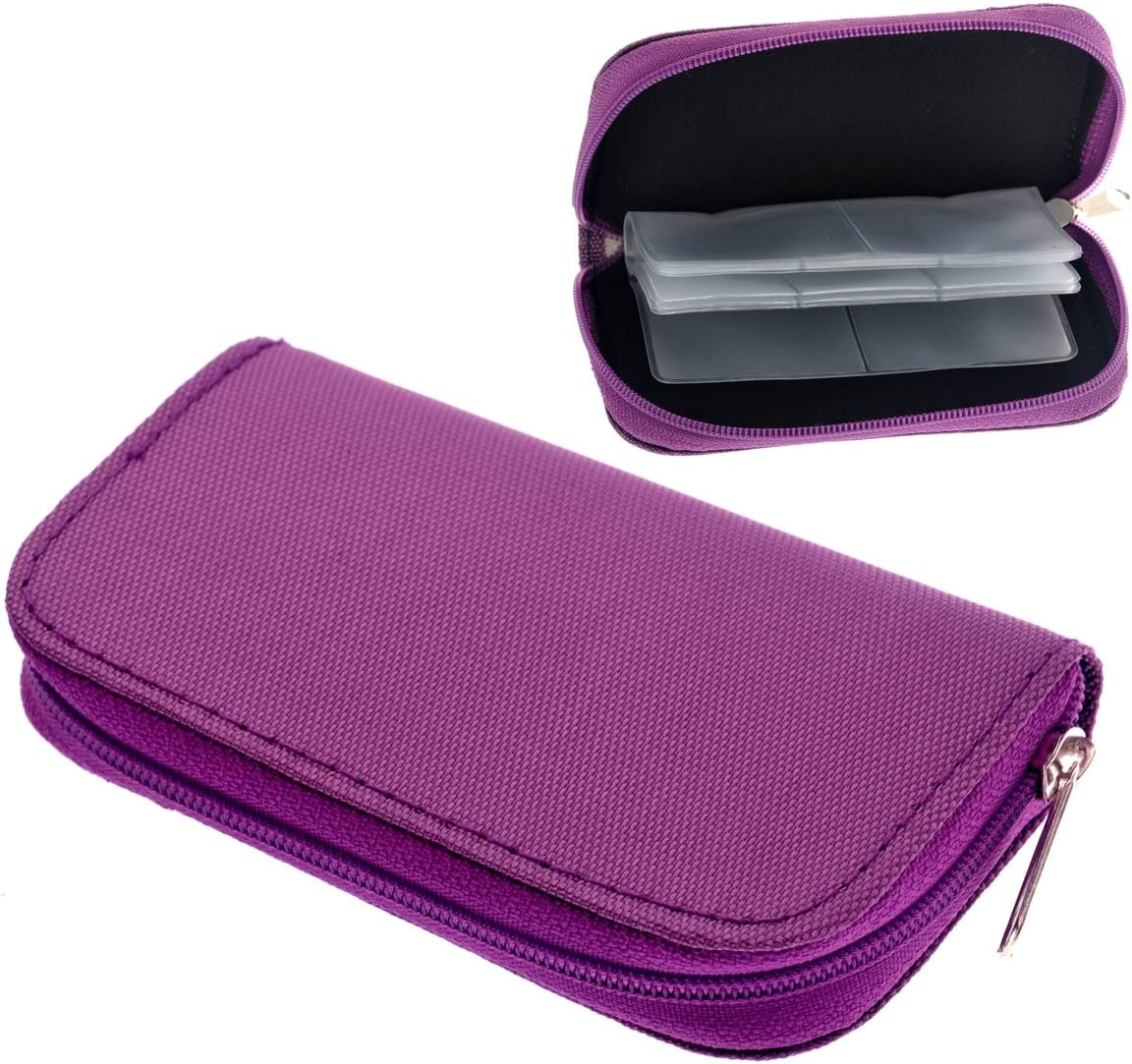 Purple Portable 22 Slots SD SDHC MMC CF Micro SD Memory Card Holder Pouch Case Zippered Storage Bag Protector