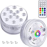 KJOY 1Pack Submersible LED Lights Underwater Bathtub Lights with 164ft RF Remote, Suction Cups, Magnets, 13LED 16Color…