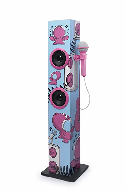 Muse M-1020 KDG Bluetooth-Tower für Kinder mit Mikrofon und Karaoke-Funktion (Bluetooth, AUX-Eingang, Mikro-Eingang) rosa mit