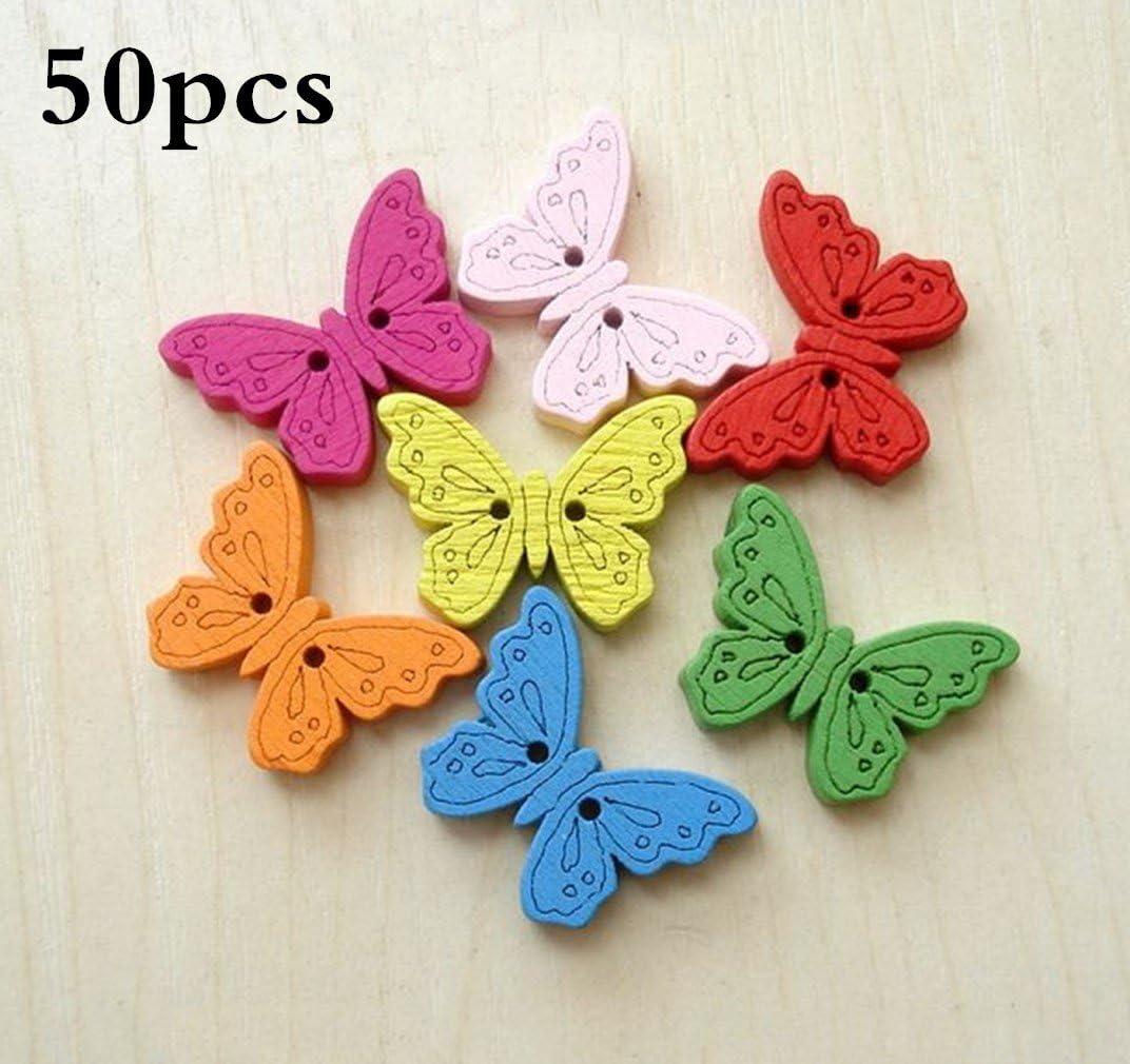 50Pcs Mixed Bulk 2 Holes Butterfly Wooden Sewing Buttons Scrapbooking-US