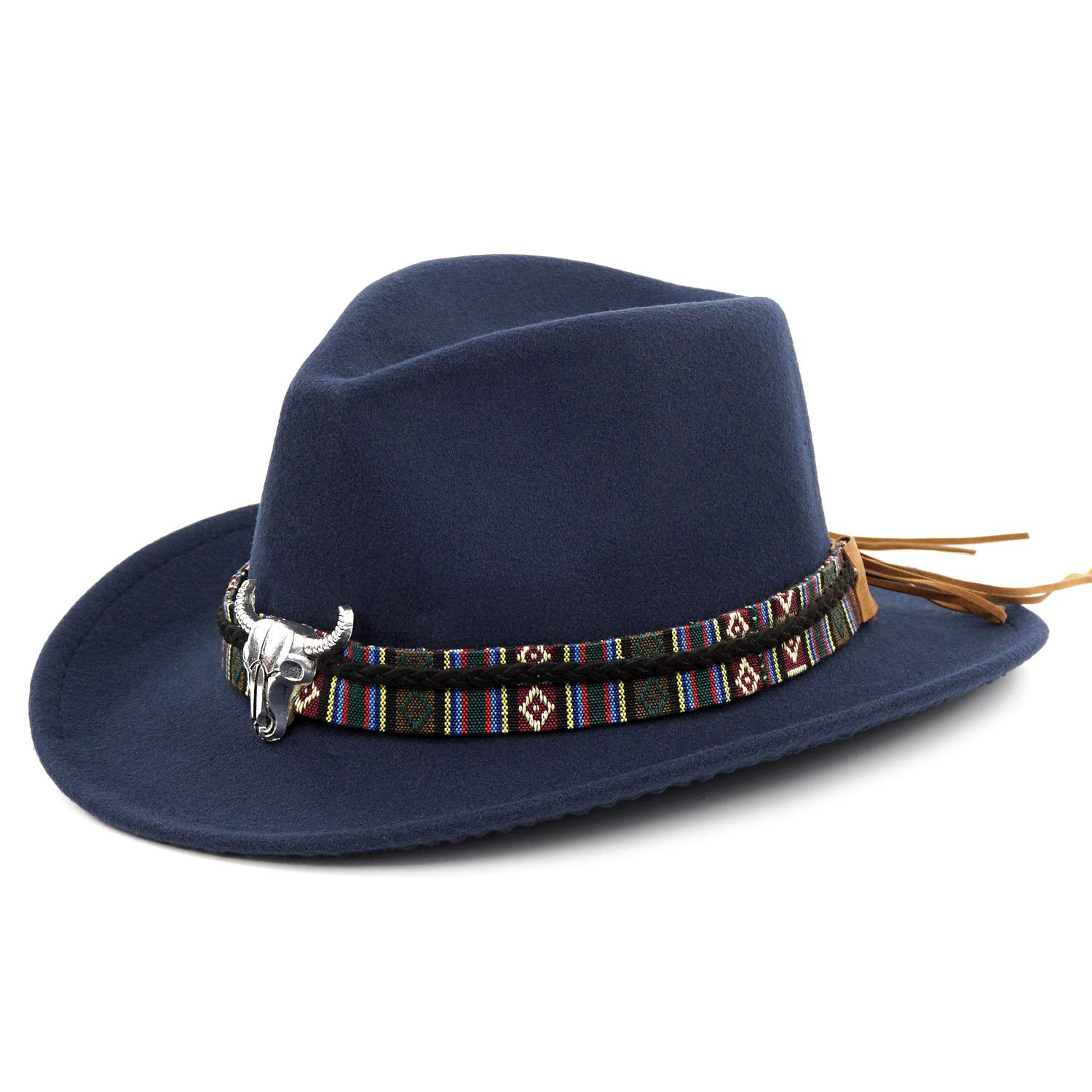 Fale Western Cowboy Hat Cattlemans With Cavalry Band Blue