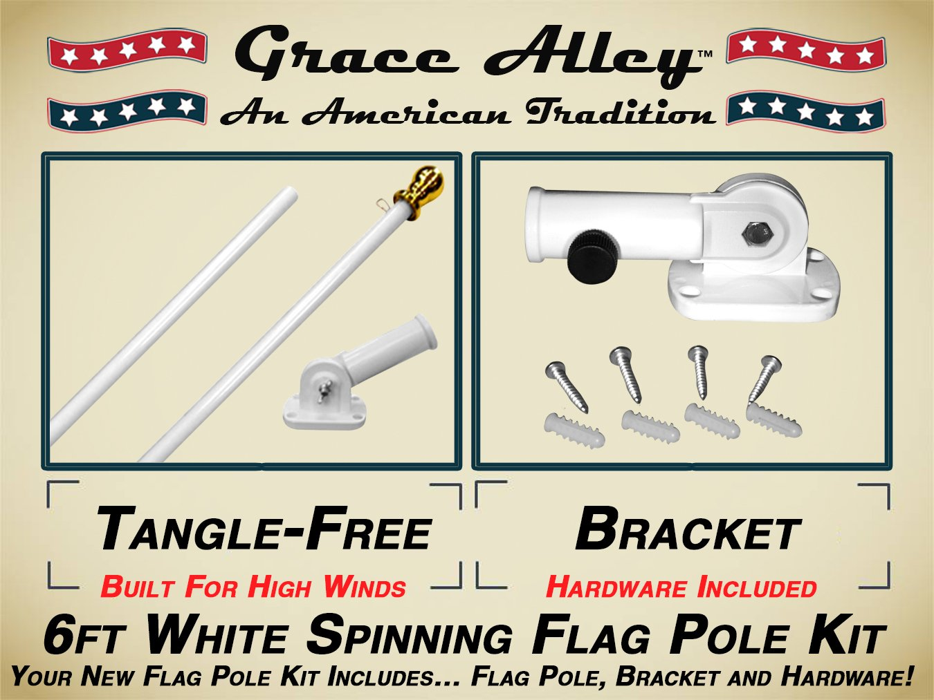 Flag Pole Kit: Outdoor Flag Pole Kit includes Tangle Free Spinning Flagpole and Flagpole bracket White by Grace Alley (Image #1)