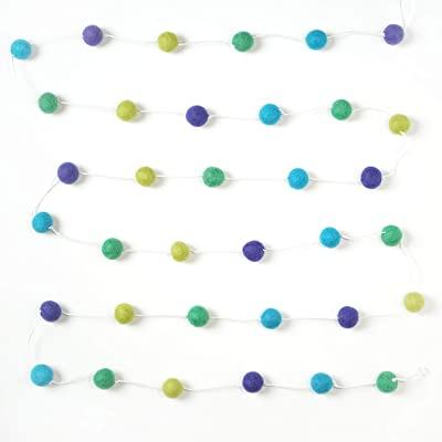 Decomod 100% Wool Felt Ball Garlands 9FT Long 35 Balls - Blues and Greens: Toys & Games