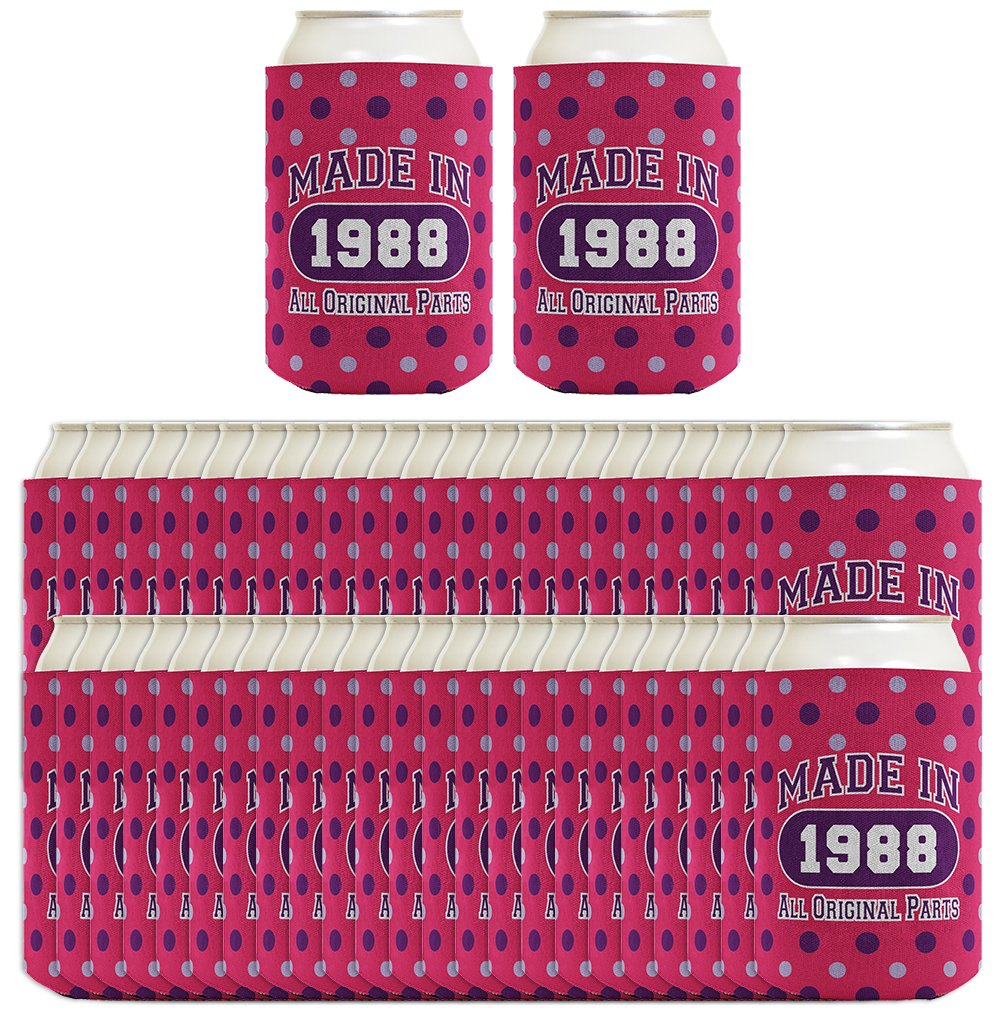 30th Birthday Gift Coolie Made 1988 Can Coolies 96 Pack Can Coolie Drink Coolers Coolies Polka Dot