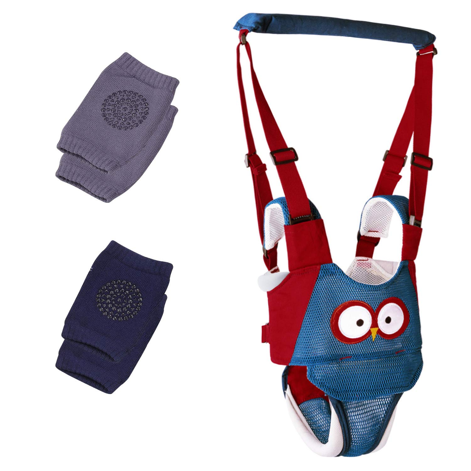 Baby Walking Harness,Adjustable Baby Walker Assistant Made of Breathable Knitted Fabric Layers,with Baby Crawling Knee Pads