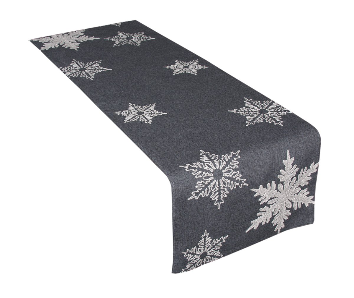 Xia Home Fashions XD17141 Glisten Snowflake Embroidered Christmas Table Runner, 16 by 54-Inch, Grey