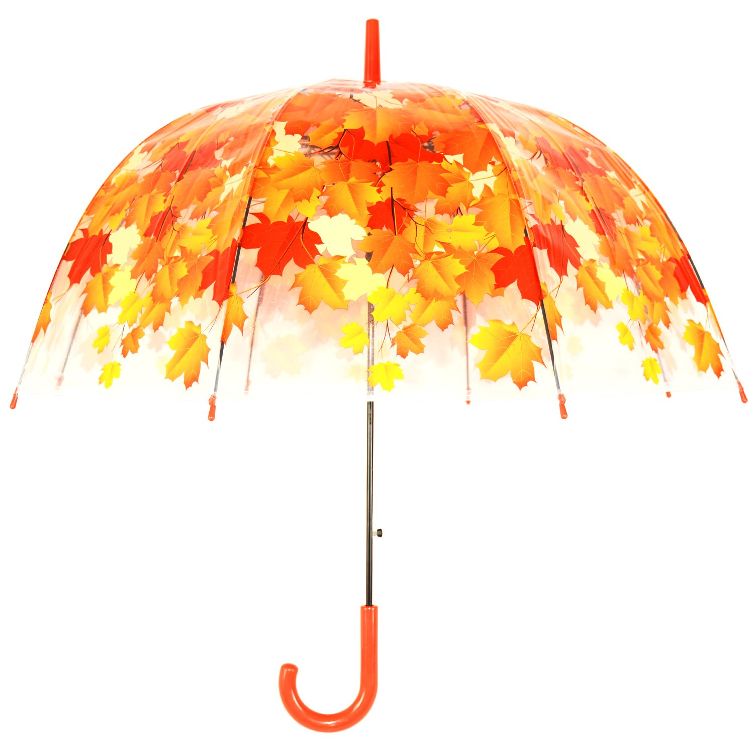 Kung Fu Smith Clear Bubble Dome Umbrella for Kids Girls and Boys, Cute Flowers Leaves Prints & Windproof Pink KFN20PK